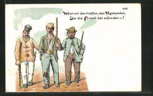 Künstler-AK Bruno Bürger & Ottillie Nr.: Drei Männer in zerschlissener Kleidung mit Stöcken