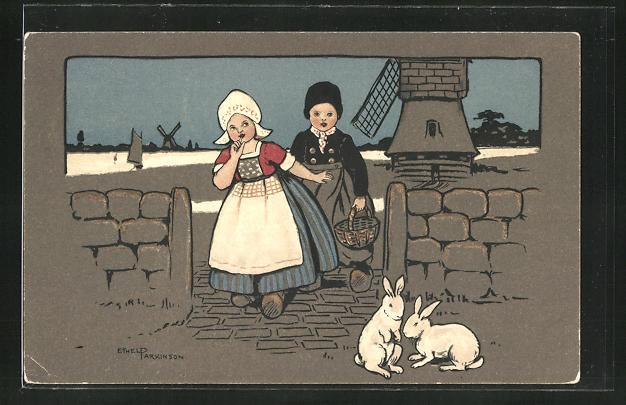 Künstler-AK Ethel Parkinson: Junge und Magd mit Korb und Hasen vor der Windmühle