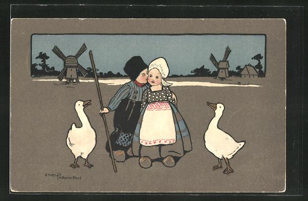 Künstler-AK Ethel Parkinson: Junge und Magd mit Gänsen vor den Windmühlen
