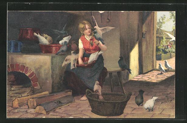 Künstler-AK Paul Hey: Aschenputtel füttert die Tauben