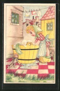 Künstler-AK Karel L. Links: Frau mit Waschzuber