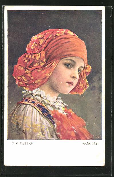 Künstler-AK Camil Vladislav Muttich: Mädchen mit Kopftuch