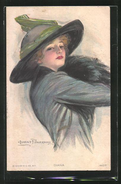 Künstler-AK Clarence F. Underwood: Portrait Frau mit Hut
