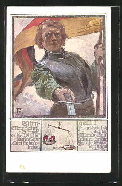 Künstler-AK Karl Friedrich Gsur: Mann mit Schwert und Fahne
