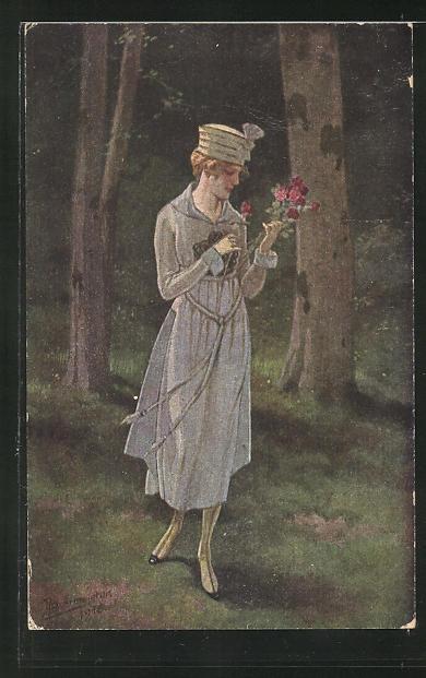 Künstler-AK R. Borrmeister: Frau mit Hut und Blume