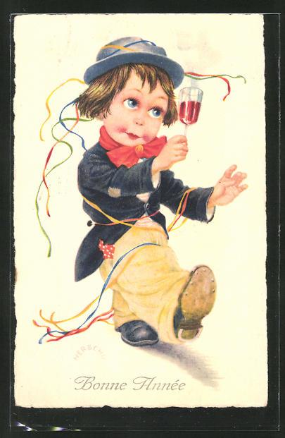 Künstler-AK Herschu: Junge mit Weinglas, Neujahrsgruss