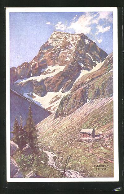 Künstler-AK Bruno Hess: Gollinghütte mit dem Hochgolling