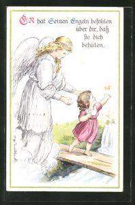 Künstler-AK sign. Olga Burckhardt: Schutzengel bewacht ein kleines Mädchen