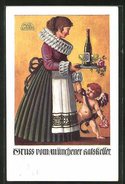 Künstler-AK Max Luber: Frau mit Weintablett und kleiner Schutzengel