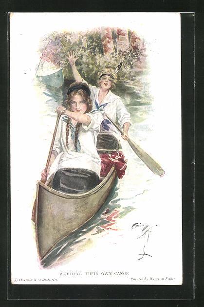 Künstler-AK Harrison Fisher: Zwei Frauen im Kanu