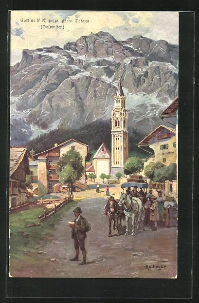 Künstler-AK Rudolf Alfred Höger: Dolomiten, Cortina d'Umpezzo