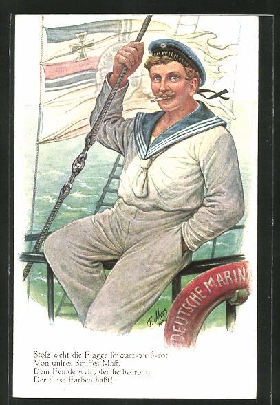 Künstler-AK sign. F. Moos: Matrose auf einem Kriegsschiff