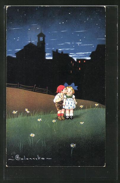 Künstler-AK E. Colombo: Geheimer Kuss unterm Sternenhimmel