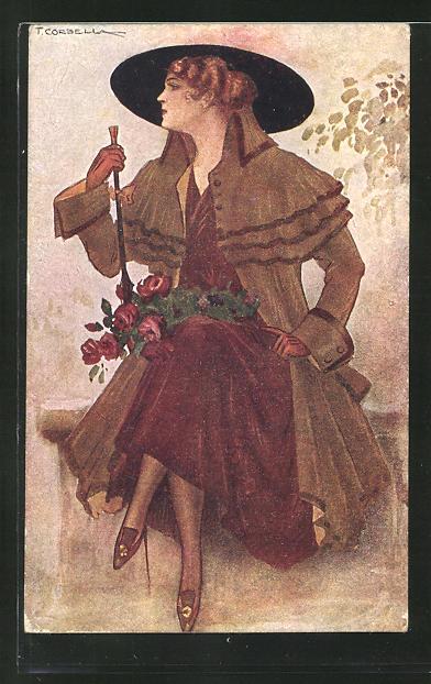 Künstler-AK Tito Corbella: Elegante Dame in Mantel und Hut mit roten Rosen