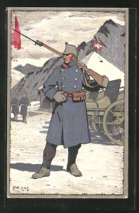 Künstler-AK Carl Moos: Schweizer Grenzbesetzung 1914, schweizer Grenzposten