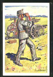 Künstler-AK sign. W. F. Burger: Schweizer Artillerie, Neue Felduniform