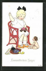 Künstler-AK Fritz Baumgarten: Kleines Mädchen sitzt auf dem Stuhl und näht ein Stoffspielzeug