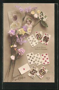 AK Sprache der Karten, Verschiedene Karten eines Kartenspiel, Blumen mit Bildern junger Frauen
