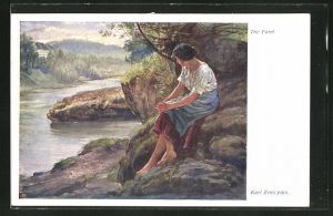 Künstler-AK Carl Zewy: Frau auf Felsen am Fluss sitzend