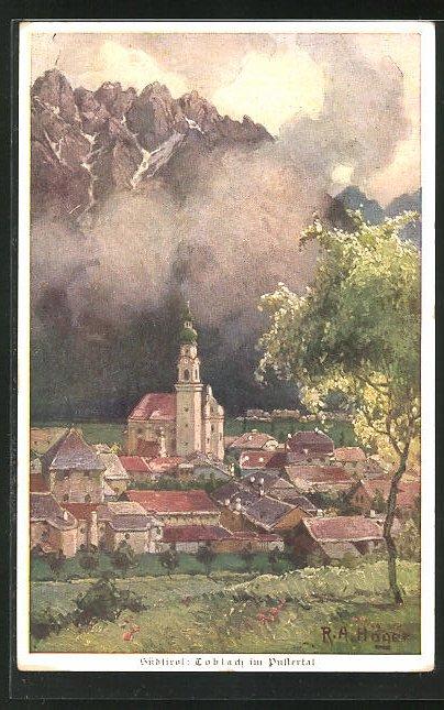 Künstler-AK Rudolf Alfred Höger: Toblach, Kirche im Ortsbild