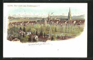 Lithographie Bern, Teilansicht mit optischem Rätsel