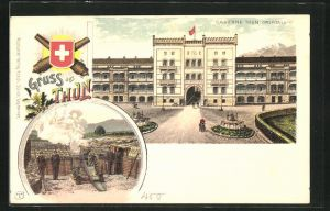 Lithographie Thun, Portal der Kaserne, Artillerie bei Schiessübungen
