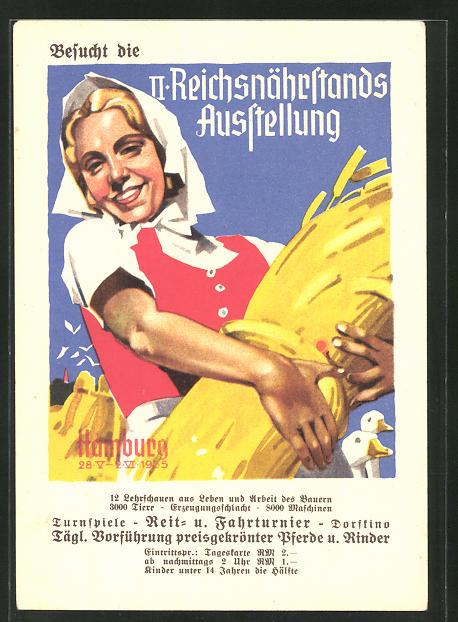 Künstler-AK Ludwig Hohlwein, unsign.: Hamburg, II. Reichsnährstands- Ausstellung, Bäuerin mit Ähren