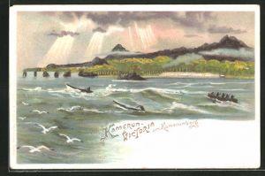 Lithographie Victoria, Einwohner in Ruderbooten mit blick zum Kamerunberg