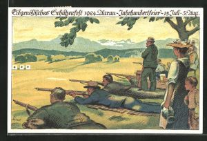 Künstler-AK Eidgenössisches Schützenfest 1924, Aarau-Jahrhundertfeier, 18. Juli - 5. Aug., Schützen schiessen auf Ziele