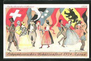 Künstler-AK Eidgenössisches Schützenfest 1924 Aarau, Jahrhundertfeier, Teilnehmer tanzen vor Fahnen