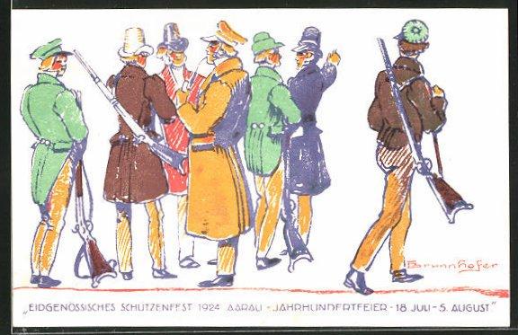 Künstler-AK Eidgenössisches Schützenfest 1924 Aarau, Jahrhundertfeier 18. Juli - 5. August, Schützen mit Gewehr