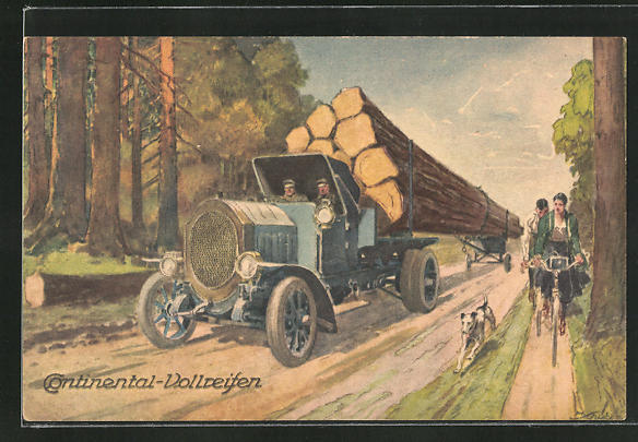 Künstler-AK Reklame LKW mit Continental-Vollreifen transportiert Baumstämme, Fahrradfahrer