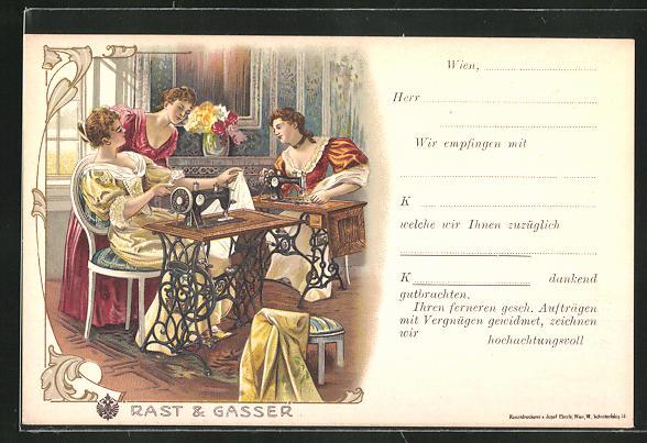 Lithographie Frauen sitzen an Nähmaschine von Rast & Gasser
