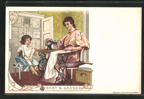 Lithographie Mutter und Kind benutzen Nähmaschine von Rast & Gasser