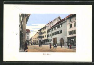 AK Bülach, Ortspartie mit Geschäft und Kindern auf der Strasse