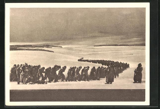 AK Wien, Gross-Ausstellung 1918 im Messepalast, Kriegsgefangene beim transport durch verschneites Gebiet