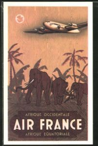 Künstler-AK Tourismus-Werbung der Air France für Flüge nach Äquatorial-Afrika