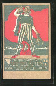Künstler-AK Zürich, Sechseläuten 18.4.1910, Schweizer mit Glocken