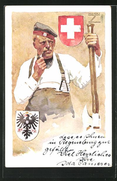 Künstler-AK Ludwig Hohlwein: München, Deutsche Internierten-Ausstellung 1918 in der Tonhalle, Veteran mit Axt