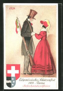 Künstler-AK Aarau, Eidgenössisches Schützenfest 1924, Schütze hält seine Liebste an den Händen