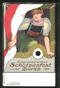 Künstler-AK Zürich, Eidgenössisches Schützenfest 1907, Mädchen hält Ausschau nach dem Sieger