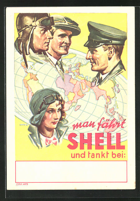 Künstler-AK Automobilisten der ganzen Welt tanken bei Shell, Tankstellen-Reklame