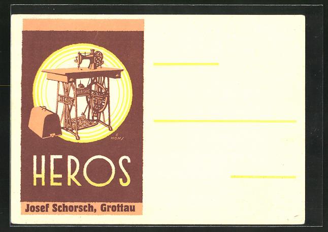 Künstler-AK Grottau, Reklame für Heros Nähmaschinen des Werkes Josef Schorsch