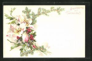 Duft-AK mit Tannenduft, Tannenzweig mit Mistelzweig und Blüte