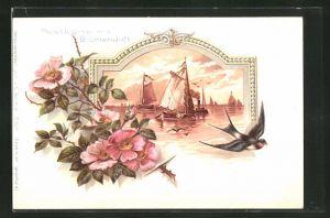 Duft-AK mit Blumenduft, Blütenzweig, Segelschiffe auf einem Gewässer