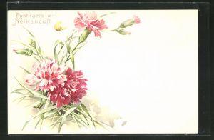 Duft-AK hübsche rosafarbene Nelken mit gelbem Schmetterling und Duft