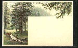Duft-AK Reh im Tannenwald, mit Duft