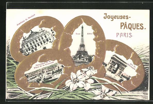 Präge-AK Paris, La Tour Eiffel, Academie de Musique, Arc de Triomphe, Place de la Concorde