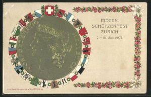 AK Zürich, Eidg. Schützenfest 1907, Frauenkopf Confoederatio Helvetica und verschiedene Wappen