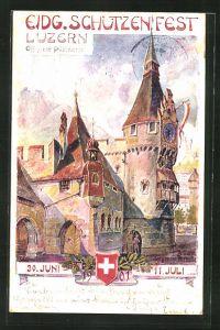 Künstler-AK Luzern, Eidgenössisches Schützenfest 1901, Zeitturm der grossen Festhalle